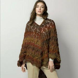 MASSIMO DUTTI | Multi-colored Crochet Poncho Cape
